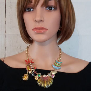 Jewelry - Chunky Colorful Sea Life Druzy Collar Necklace Set